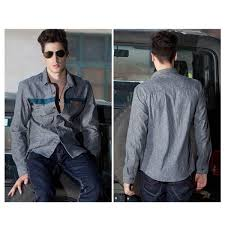 shirt for men long sleeves with chest stripe design fashion