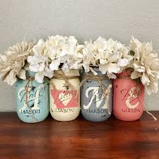 Aqua Grey And Coral Montana Home Mason Jar Set