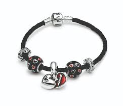 Pandora Halloween Charms Ebay by Black Leather Bracelet With Disney Charms Black Red Silver
