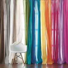 Sheer Cotton Voile Curtains by Chambray Voile Yarn Dyed Window Panels The Company Store
