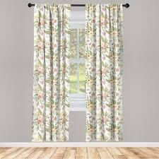 gardine fensterbehandlungen 2 panel set für wohnzimmer schlafzimmer dekor abakuhaus englischer garten vintage pastel flora kaufen otto