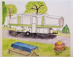 Happy Camper Folk Art Print Quirky Fun Pop Up RV Tent Travel Vacation Camping Firepit Marshmallow Song Moonlight Stars Lakes Kids Children