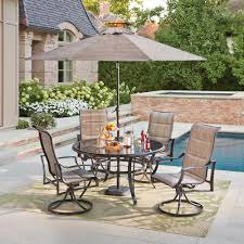 Hampton Bay Patio Furniture Covers by Hampton Bay Statesville Pewter 5 Piece Aluminum Outdoor Dining Set