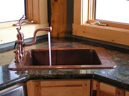 Oil Rubbed Bronze Faucets by Kitchen Hammered Copper Double Bowl Corner Kitchen Sink With Oil