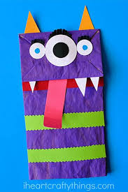 I Heart Crafty Things Paper Bag Monster Puppets