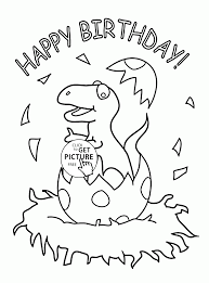 Little Dinosaur And Happy Birthday Coloring Page For Kids Holiday Pages Printables Free