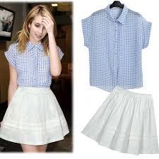 Fashion Polka Dot Women Blouse Tops Skirts Turn Down Collar White Lace Chiffon Blouses High Waist Skirt Blusas Femininas 2014 Ladies