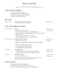 Childcare Resume Objectives Objective For Sample Nanny Examples Job And Child Care