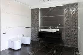 modernes badezimmer interieur in grau und weiß