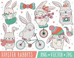 Cute Rabbit Clipart Hipster Clipart Kawaii Bunny Clipart