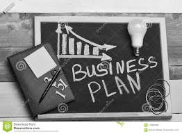 Concepto Del Plan Empresarial Pizarra Con La Carta De Negocio Imagen