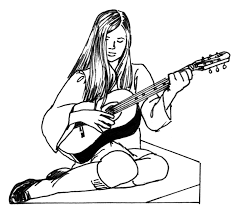 Girl Playing Guitar Electric Coloring Pages