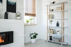 weißes bücherregal kamin und fenster mit pflanzen legen sie in einem modernen wohnzimmer interieur stockfoto und mehr bilder arrangieren