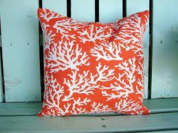 Coral Colored Decorative Items by 16 X 16 Orange White Coral Reef Print Designer