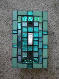 turquoise green stained glass mosaic switch plate cover light