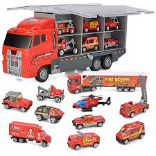 10 N 1 Diecast Fire Engine Vehicle Mini Rescue Emergency Fire Truck ...
