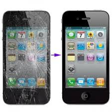 Cracked iPhone 4s LCD screen glass replacement repair