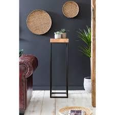 beistelltisch 30 x 97 x 30 cm wl5 654 akazie metall anstelltisch hoch industrial style tischchen wohnzimmer holztisch mit metallbeinen