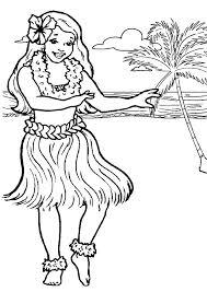 Hula Girl Dancing At The Beach Colouring Page