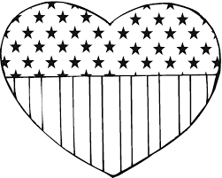 American Flag Hearts Coloring Pages