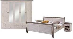 pharao24 landhaus schlafzimmermöbel in weiß braun kiefer