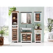 woodkings bad set perth 5teilig recyceltes holz rustikal weiß mehrfarbig badmöbel badschrank badezimmer komplettset echtholz