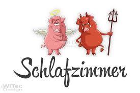 türaufkleber schlafzimmer engel teufel schweinchen