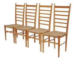 Tall Ladder Back Chairs With Rush Seats by 1960s Italian Ladder Back Dining Chairs Set Of 4 Chairish