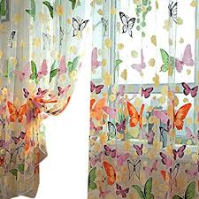 Amazon Kitchen Window Curtains by Amazon Com Daxin Butterfly Panel Scarf Window Curtain Screens