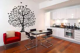 Kitchen Wall Decorating With Vinyl Stickers And Decals Tree Birds Images In Black Color