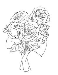 Bunch Of Rose Bouquet Coloring Pages