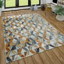 wohnzimmer teppich kurzflor teppich mit rauten muster in gelb blau grau