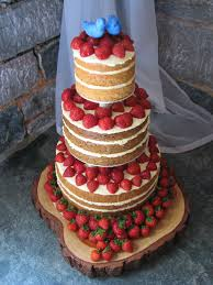 Naked Cake With Strawberries And Bluebirds
