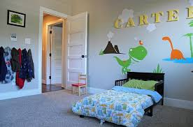 Bedrooms Beautiful Kids Dinosaur Themed Bedroom With Small Bed Ideas And Dinowaur Wall