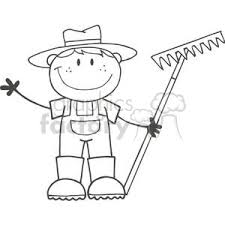 Royalty Free black and white farmer boy holding a rake vector clip art image EPS SVG PDF illustration