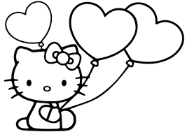 Click To See Printable Version Of Hello Kitty With Heart Balloons Coloring Page