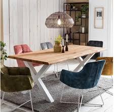baumkanten esszimmertisch aus eiche massivholz und metall modern