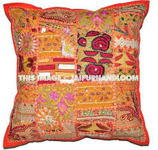 24X24 XL Orange Accent Throw Pillows For Sofa Bohemian Outdoor Cushions Jaipur Handloom