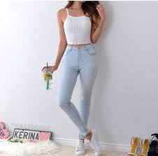 Jeans Shirt Top Fashion Tank Cute Tumblr Style Americanstyle Love White Pants Crop Tops