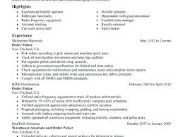 Sample Resume Warehouse Order Picker Combined With Packer Duties Government For Create