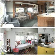 A Before And After Photo Of Fifth Wheel Renovation