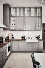 Exquisite Grey Tall Kitchen Cabinet White Subway Tile Backsplash Elegant Design Inspirations Beautiful Accessories Wall Mount