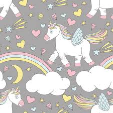 Download Vector Seamless Pattern Of Cute Unicorn On Rainbow With Stars And Moon Stock Illustration
