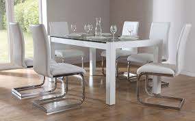 venice white high gloss and glass dining table dining room