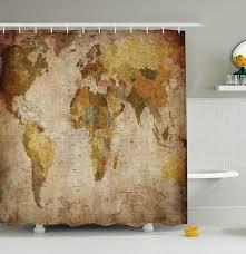 World Map Shower Curtain Fabric Rustic Primitive Antique Globe In