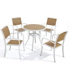 D+ Garden White Patio Aluminum Dining Chairs Set Of 4 And White Round  Dining Table 31.5