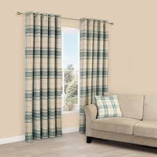 Brown And Teal Living Room Curtains by Lamego Duck Egg U0026 Cream Tartan Brushed Eyelet Lined Curtains W
