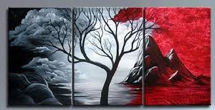 2018 Black White Red Tree High Quality Wholesale Wall Pictures Abstract Landscape Painting Modern Home Decor Art Oil Canvas Gift From