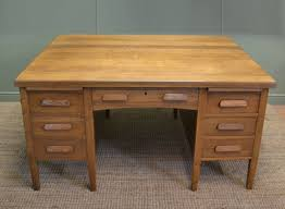 Characterful Edwardian Antique Oak Partners Desk Antiques