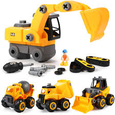 100 Construction Trucks GEYIIE Take Apart Toys DIY Big Assembly Toys Toddler Engineering Cars 4 Pack Building Vehicles Set For Kids 314